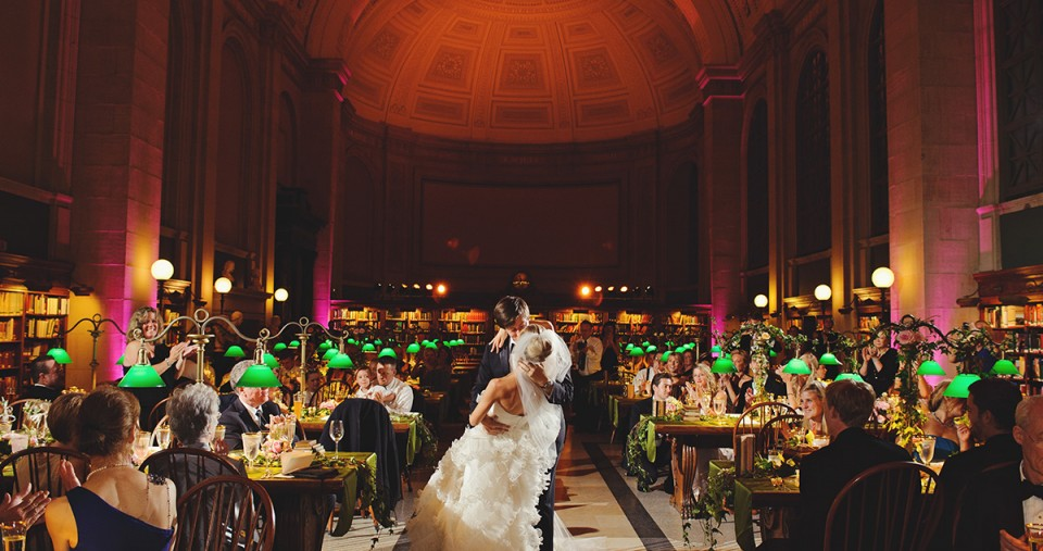 Boston Public Library Wedding.Inside Bates Hall At The Boston Public Library